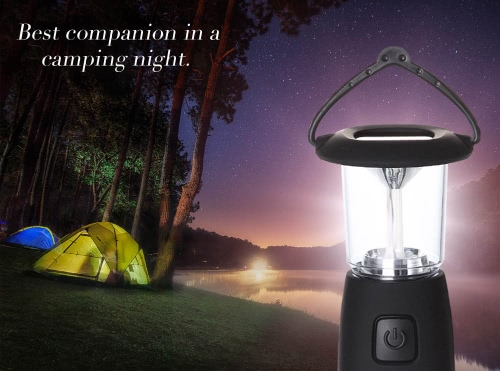 Solar / Hand Crank / USB Rechargeable 6 LED Camping Lantern Outdoor Tent Light