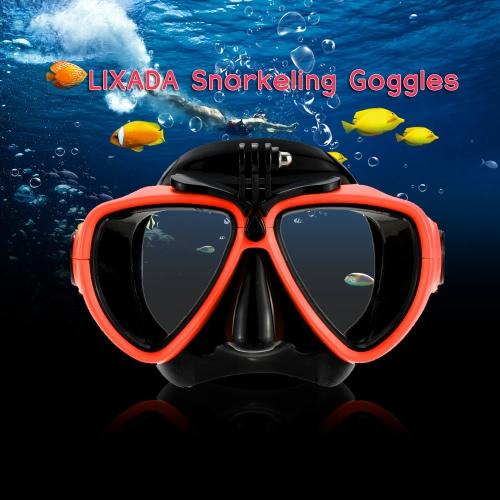 Lixada adulto buceo snorkel natación templado vidrio buceo máscara gafas con montura de cámara