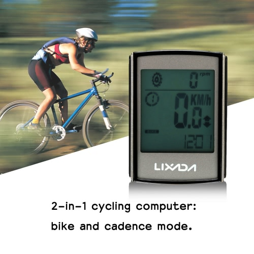 Lixada multifunzionale 2-in-1 Wireless LCD bicicletta ciclismo Computer velocità cadenza resistente all'acqua