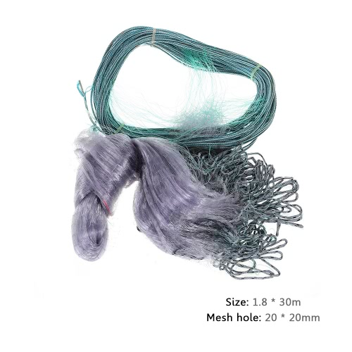 1.8*30m Monofilament 20mm Mesh Hole 3 Layers Fishing Gill Net Monofilament Gill Net Y2834
