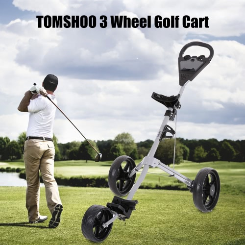 TOMSHOO carro de golf plegable 3 ruedas Push Cart aluminio Tire de carro con sistema de freno de pie Beverage Holder