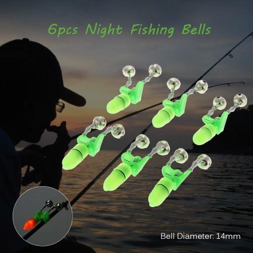6pcs noche Accesorios de pesca Pesca de Bell de Bell Twin Ring mordedura de la pesca de alarma Equipos de pesca luz de la extremidad