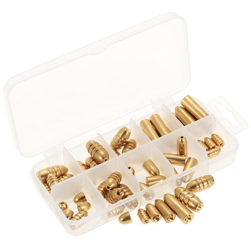 50pcs 1,8 / 3,5 / 5/7/10 g de peso Assorted Copper Sinker Kit Pesqueiro Sinkers em um caso Box