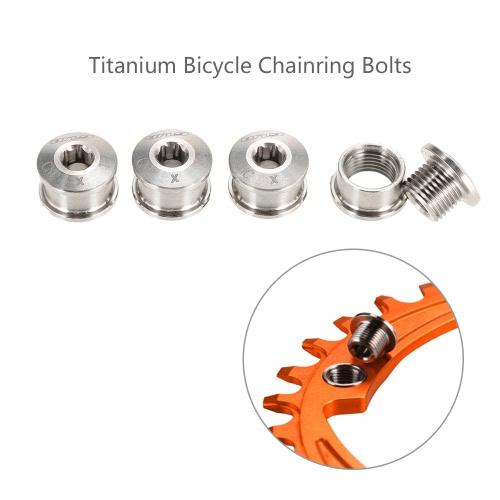 GUB 4PCS CNC Titanium Kurbeln Kettenblattschrauben Muttern M8 * 6mm für Rennrad MTB Gebirgsfahrrad