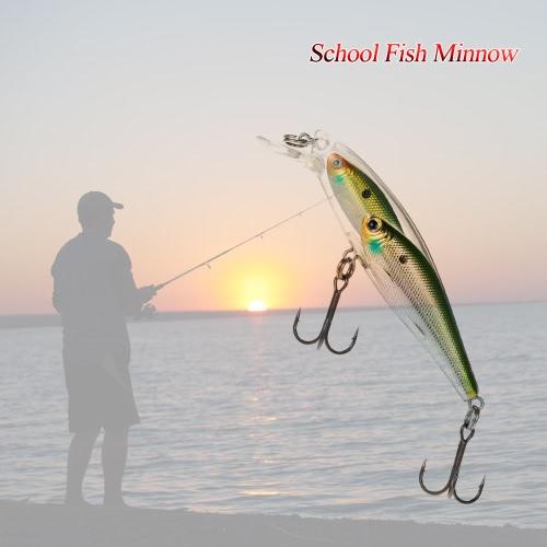 Gruppo Pesce Esche Minnow Lure galleggiante swimbait plastica dura 3D Fish Eye