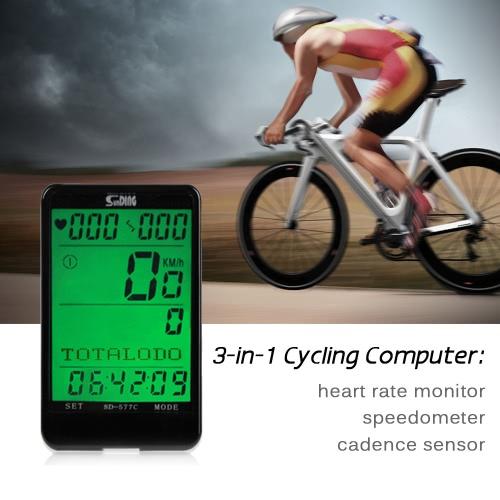 Ciclo de ordenador sin hilos monitor de frecuencia cardiaca y sensor de cadencia y Velocímetro cuentakilómetros 3 en 1 bici de la computadora multifunción