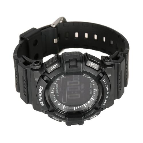 Reloj inteligente SUNROAD inalámbrica BT del sueño del ritmo cardíaco Monitor de deportes al aire libre Digital Reloj rastreador de ejercicios con USB selfie remoto de carga para Android para iOS