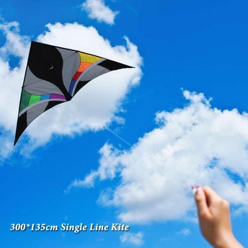 300 * 135cm Single Line Kite Huge Delta-Form Kite Flyer Dreieck Assembled Kite Kinder Erwachsene For Fun Perfekt für Urlaub