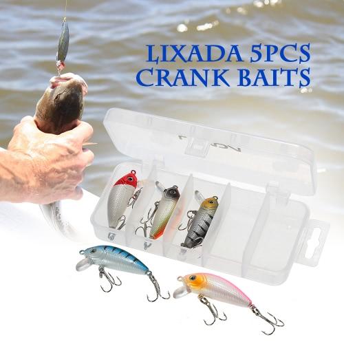 Lixada 5pcs 5cm/3.7g Fishing Lure Kit Hard Baits Crank Baits Crankbaits Treble Hooks with Fishing Tackle Box Image