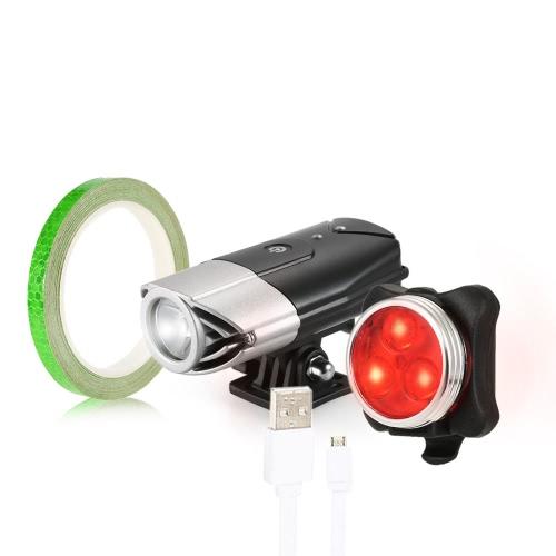 Lixada USB-wiederaufladbare Fahrrad-Licht-Satz-super helle LED-vordere helle und Fahrrad-Endstück-Licht-Satz-Installationssatz-einen.Kreislauf.durchmachenfahrrad-Noten-Kontroll-Scheinwerfer-hinteres Licht mit reflektierendem Klebeband