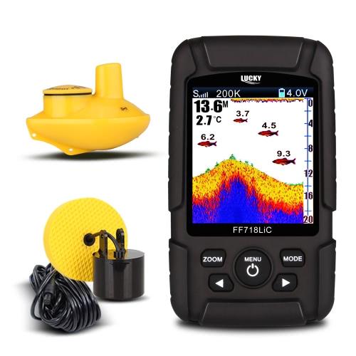 LUCKY FF718LiCD 2,8-дюймовый цветной ЖК-портативный искатель рыб 200KHz / 83KHz Двойная частота сонара 328ft / 100m Detection Depth Finder Alarm Fish Detector
