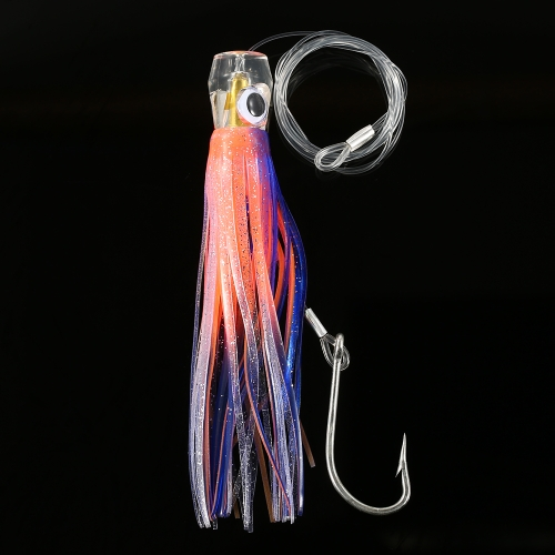 6PCS 16.5cm Pusher Style Marlin Acrylic Octopus Trolling Skirt Lures with Bag