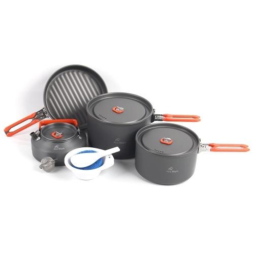 Открытый Кемпинг 8Pcs Кухонная посуда Набор Пешие прогулки Рюкзак Пикник Кулинария Горшок с капюшоном Frypan с складной ручкой для 2 - 3 человек