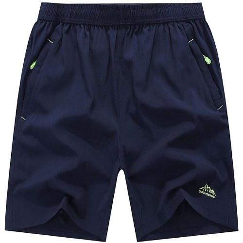 Männer, die Eignungs-Sport-schnelle trockene Hosen-reine Farben-lose Breathable Shorts mit Taschen laufen lassen