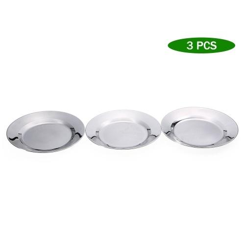 3 PCS Нержавеющая сталь Блюдо тарелки 9.6IN Круглый тарелка на открытом воздухе Отдых на природе Пикник Барбекю Кулинарная посуда