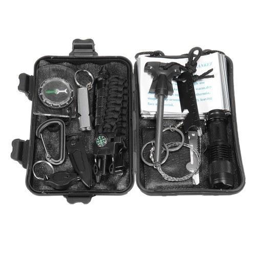 13 в 1 Профессиональный многофункциональный комплект первой помощи SOS Emergency Camping Survival Equipment Kit Outdoor Tactical Hiking Gear Multi Tool