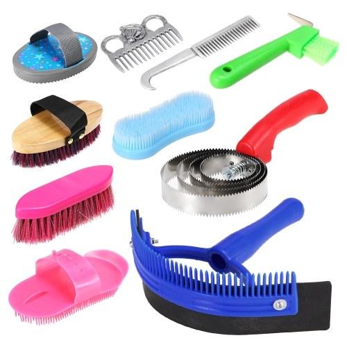 10-IN-1-Werkzeug für die Pferdepflege Reinigungsset Mähnenschwanzkammmassage Currybürste Schweißschaber