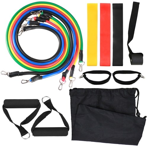 14pcs Resistance Bands Set Workout Fintess Exercise Tube Bands Jump Rope Door Anchor Ankle Straps Cushioned Handles 8-Shaped Resistance Band with Carry Bags for Home Gym Travel