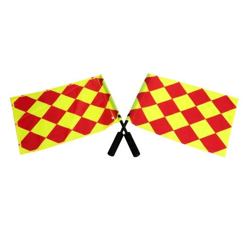 2шт Флаги для Арбитра Футбола Флаг для Судьи Футбола Боковой Линии Флаг для Судьи Футбола в Сумке для Переноски