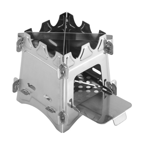 Portable Folding Stainless Steel Camping Stove Wood Burning Stove with Door for Outdoor Backpacking Hiking Traveling Picnic BBQ