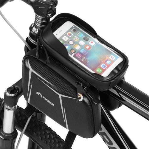 Touchscreen-Fahrradlenker Wasserdichte Frontrahmen-Oberrohr-Fahrradtasche Hartschalen-Doppelpacktasche Große Kapazität