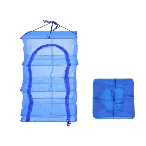 35 * 35 * 65 cm Folding 4 Layers Fish Mesh Hanging Drying Net Food Dehydrator Fish Vegetable Dryer Net Drying Rack