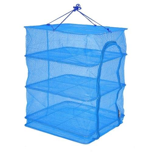 45 * 45 * 65cm Folding 4 Layers Fish Mesh Hanging Drying Net Food Dehydrator Fish Vegetable Dryer Net Drying Rack