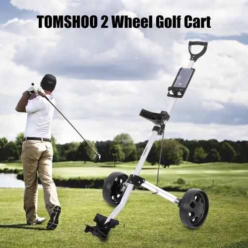 TOMSHOO carro de golf plegable 2 Ruedas Push Pull Cesta de aluminio carro de la carretilla
