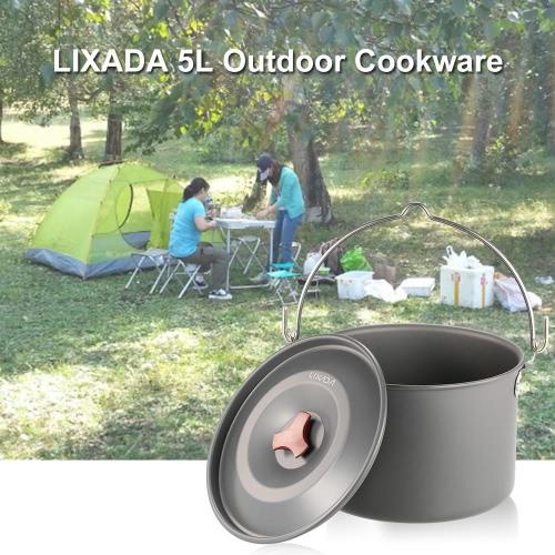 Lixada 4L Outdoor Camping Caminhadas Mochila Panelas Cozinhar piquenique Pot Pan Camping Ferramenta Fogão