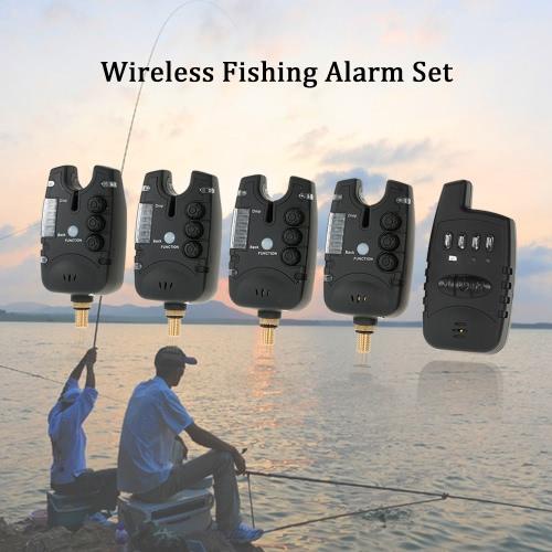 Lixada Беспроводной Рыбалка сигнализации Установить 4 Рыбалка Укуса Сигнализация + 1 приемник в случае светодиодный карповой рыбалки оповещения