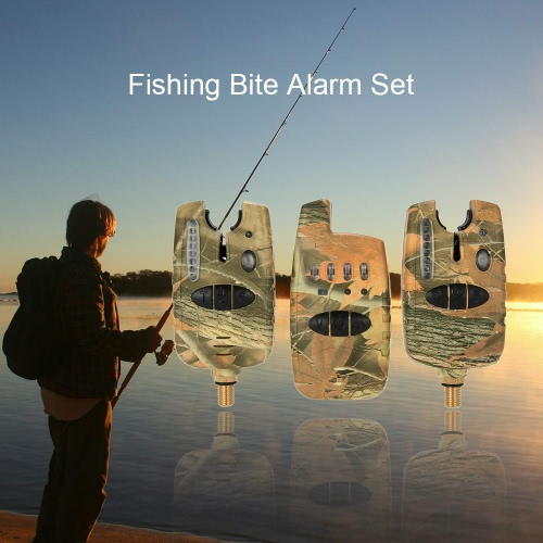 Wireless-LED-Fischen-Warnungs-Alarm-Set mit Fall 2 Angeln Bissanzeiger + 1 Empfänger