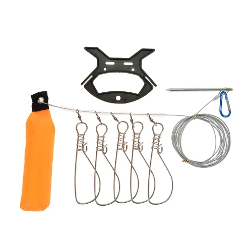 5 Snaps / 10 Snaps Stainless Steel Live Fish Lock Fishing Stringer Steel Lanyard Large Fish Lock with Float and Plastic Handle