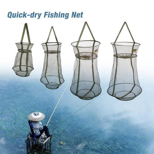 3 capas de pesca de secado rápido Trampa Net Net red del acoplamiento redes de camarones jaula plegable Equipos de pesca 4 tamaños