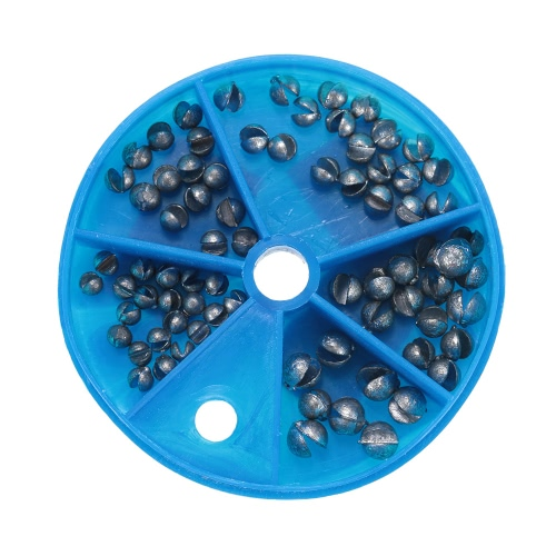5 Tamaños carpa desmontable grueso de Split Shot Kit del plomo puro plomo Plomos Pesos caja de pesca