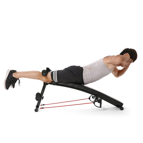 TOMSHOO Verstellbare Arc-Shaped Absenkbank Bauch Crunch Sit Up Trainingsbank