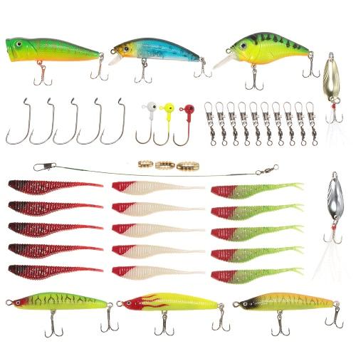Комплект для приманки Lixada 46pcs Set Crankbait Minnow Popper Pencil Spoon Мягкие приманки Рыболовные бочки Поворотные крюковые крюки