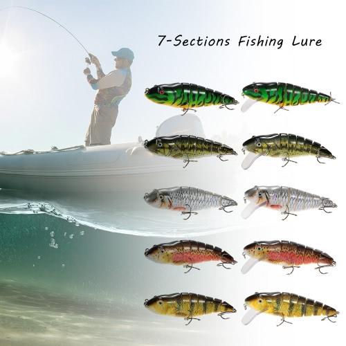Lixada 11.8cm/35g Lifelike 7 Jointed Sections Fishing Lure Trout Swimbait Hard Bait Fish Hook Fishing Tackle