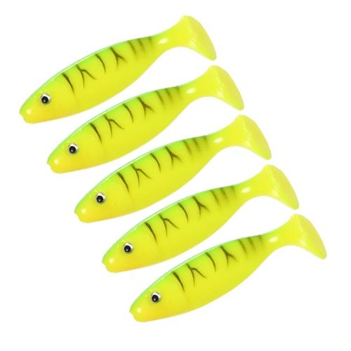 Pesca morbida di pesca di Tipo del pesce di Lixada 5pcs 6.5cm / 5g L'attirazione molle di pesca di mare molle dell'esca di richiamo molle degli occhi 3D