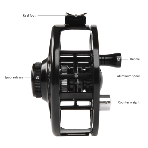Fly Fishing Reel Aluminum Alloy Fishing Reel 3/4 / 5/6 / 7/8 Weight 2+1 Ball Bearing Left Right Interchangeable Fly Reel Y5989-85