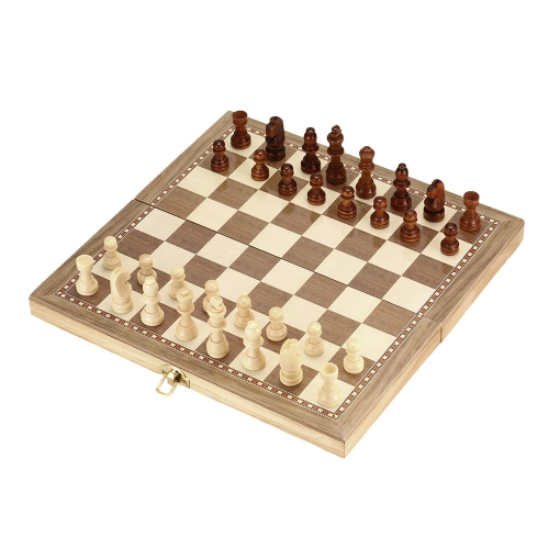 Juego de ajedrez de madera Juego de ajedrez plegable de ajedrez internacional Juego de ajedrez de juego de entretenimiento con tablero plegable