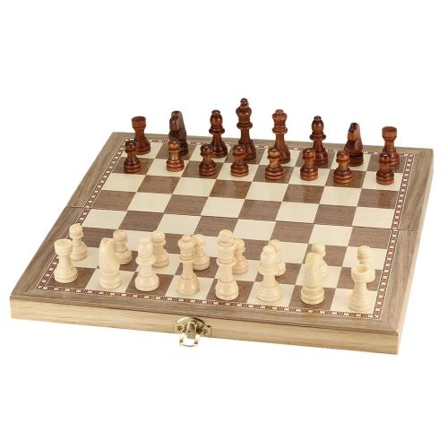 Set di scacchi in legno Set di scacchi di scacchiera pieghevole internazionale Set di scacchi da gioco con scacchiera