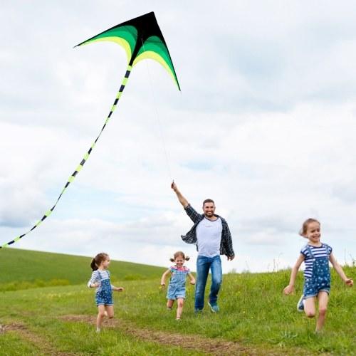子供の大人のための30mのフライングラインが付いている多彩なデルタカイトの屋外スポーツの単一ライン飛行カイト