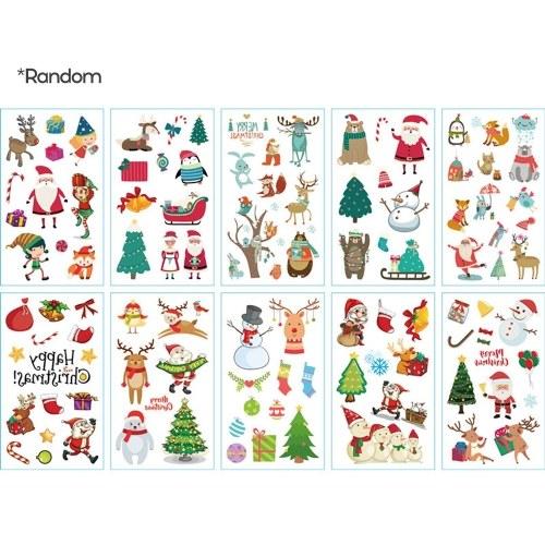 1 Folha Corpo Etiqueta Decorativa Feliz Natal Papai Noel Padrão T-attoo Adesivos para Festa