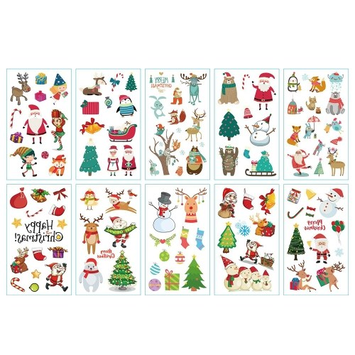 1 Sheet Body Decorative Label Merry Christmas Santa Claus Pattern T-attoo Stickers for Party
