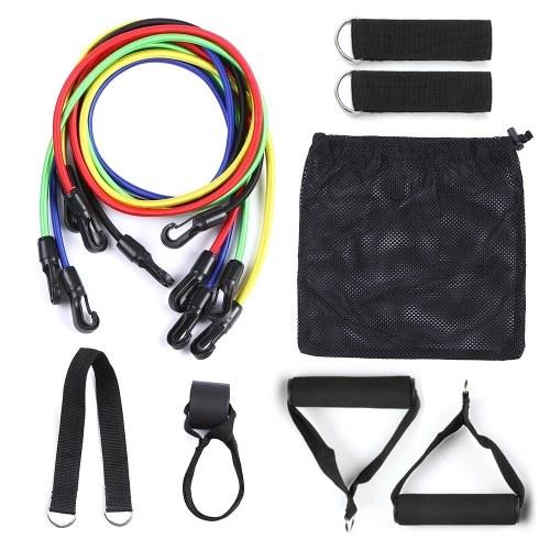 11pcs faixas de resistência definir tubo de exercício fintess treino