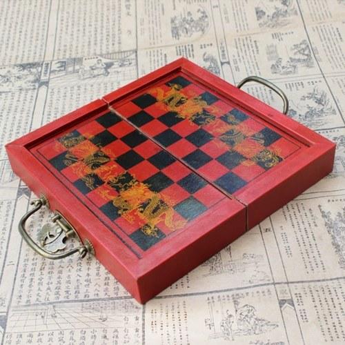 Wooden International Chess Set Terracotta Warriors Chess Pieces Chess Game Christmas Gift