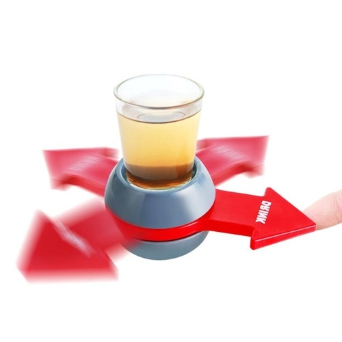 Shot Spinner Party Game Pointer Turntable Penalty Toy with Shot Glass Bar Entertainment Classic Party Drinking Game(Gray & red)