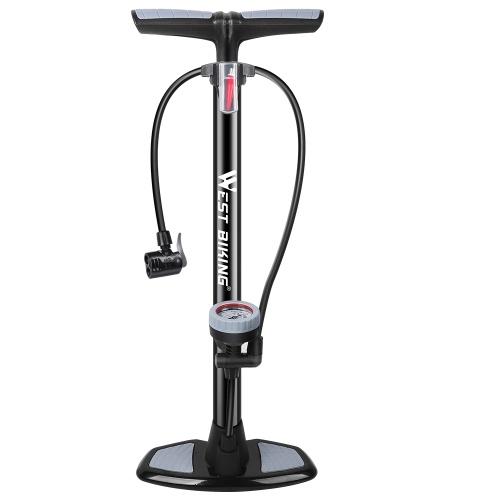 WEST BIKING 180PSI Fußpumpe für Fahrradhochdruckpumpe mit vertikalem Manometer für Manometer mit Manometer