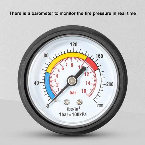WEST BIKING 180PSI Foot Pump For Bicycle High Pressure Pump With Pressure Gauge Vertical Pump Inflator