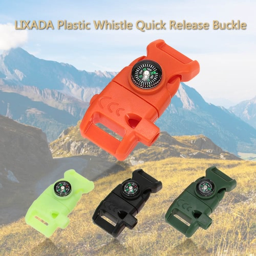 Lixada Plastic Whistle Quick Release Buckle Flint Fire Starter for Paracord Bracelet Outdoor Camping Emergency